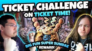 Ticket Time Claw Machine CHALLENGE! Who Will Win the Main Event Big Fun Super Sundae!? TeamCC