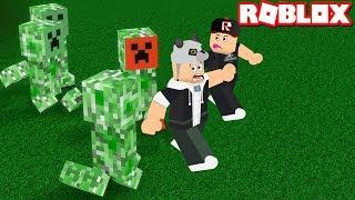 Creeper irritado que vem funcionado! Jogando Survival-Roblox sobreviver aos desastres com Panda!
