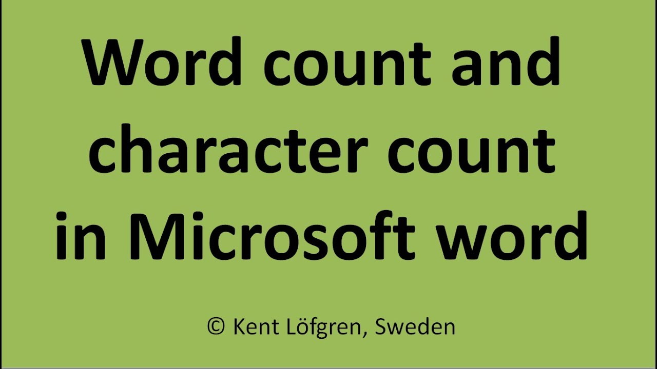 Word count and character count in Microsoft Word