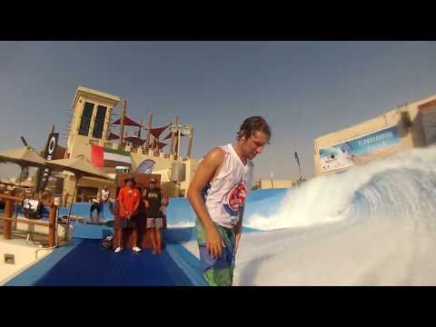 Final FlowRider FLow Barrel at Yas Waterworld Waterpark Abu Dhabi Dubai UAE Surf Machine Pro Tricks
