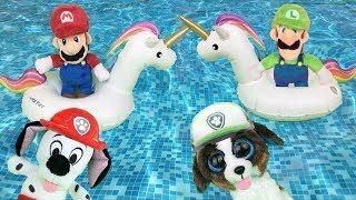 Bebes paw patrol español y juguetes patrulla canina en piscina:¿Marshallito es Super Mario bros?