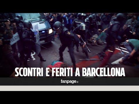 La Guardia Civil blocca i seggi: scontri davanti ai seggi a Barcellona