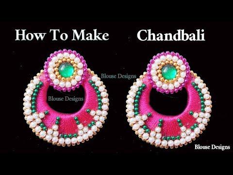 How to make Chandbali Silk Thread Earrings at Home | making Designer Bridal ear rings