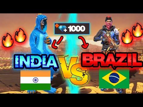 India vs Brazil *NEW ACCOUNT* challenge | How many skins I got? 😱🔥 Free Fire Ms Rainbow