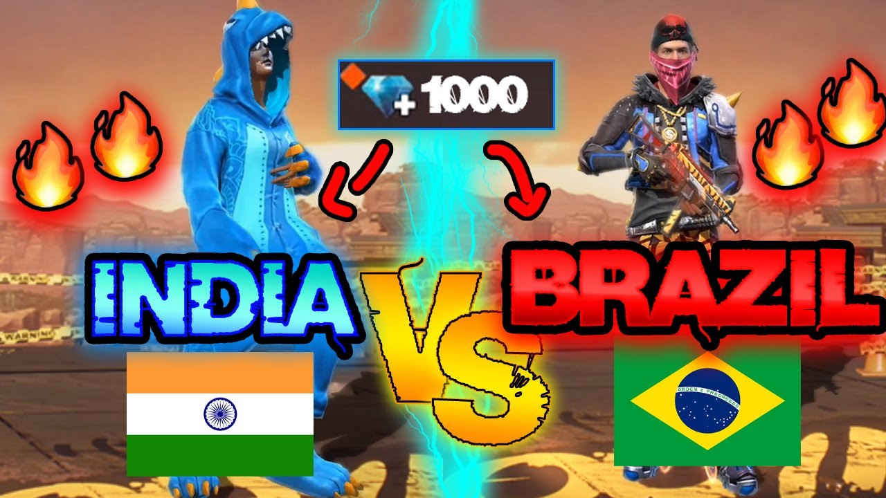 India vs Brazil *NEW ACCOUNT* challenge | How many skins I got? 😱🔥 Free Fire Ms Rainbow