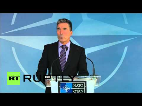 Belgium: NATO's Rasmussen says Russia must stop having troops at its border