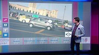 موظف عنيد يخاطر بحياته لإيقاف سيارة في دبي