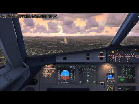 Aerosoft A319 final  approach and land in Glasgow
