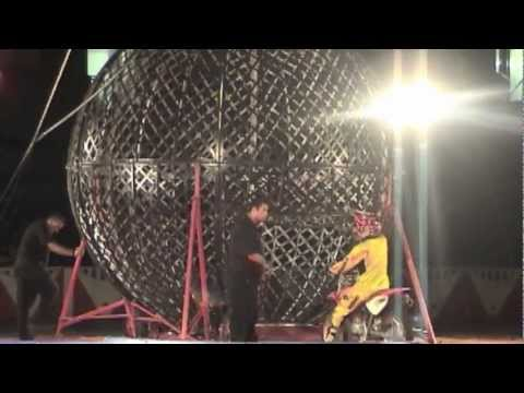 Moto Revolution Globe of Death. Alaho Masa, Daniel Tamkey and Gary Laurent in Circus Gatti 2012