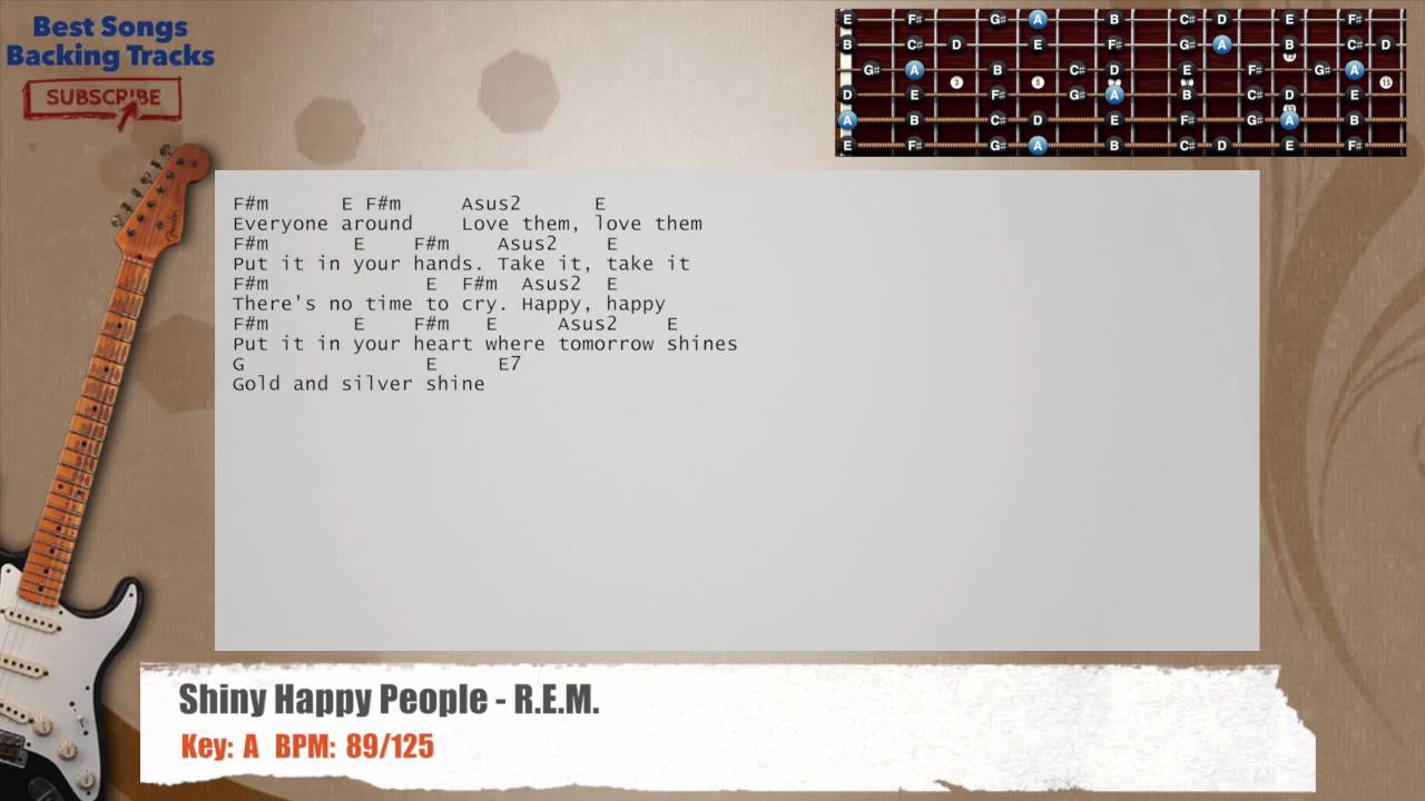 Shiny Happy People Rem Guitar Backing Track With Chords And