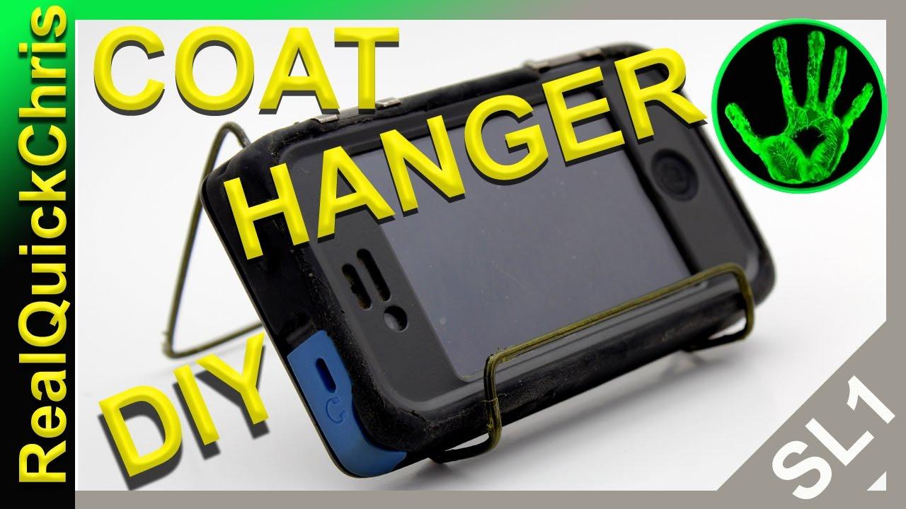 diy wire coat hanger phone stand project build youtube. Black Bedroom Furniture Sets. Home Design Ideas