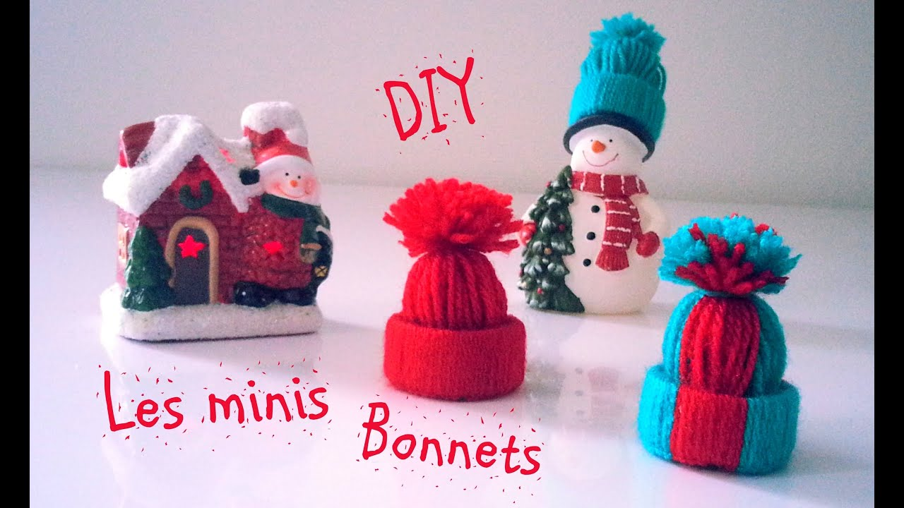 D i y d co no l les minis bonnets en laine youtube - Decoration sapin de noel a fabriquer ...