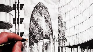 How to Draw The Gherkin Building London