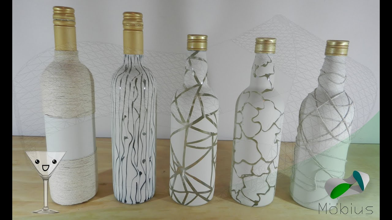 Diy reciclaje de botellas botellas decoradas viyoutube for Botellas de cristal ikea
