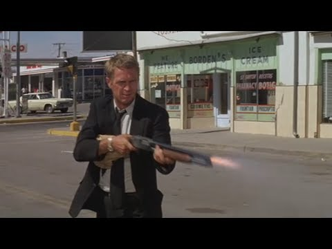 STEVE McQUEEN shotguns the shit out of cop-car THE GETAWAY