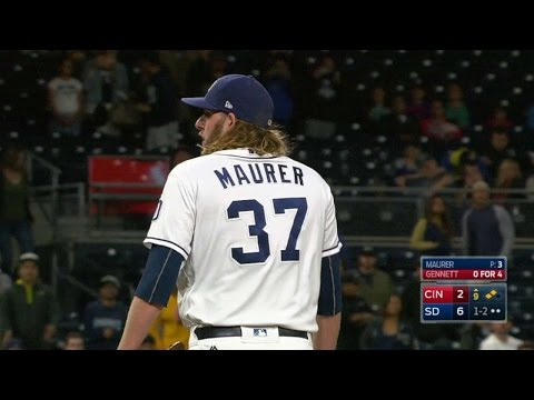 CIN@SD: Maurer forces a groundout and gets the save