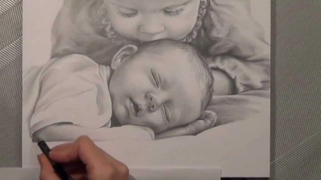 Kinder bleistiftportrait realistisch zeichnen speed for Sofa zeichnen kinder