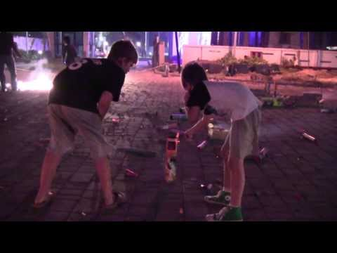 American kids enjoying bursting crackers on Diwali in Chennai, India