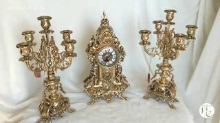 Часы каминные с канделябрами Королевские