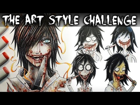 The Art Style CHALLENGE! (Jeff The Killer) Creepypasta Drawing + Horror Story