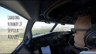 Approach and landing runway 27 Sevilla Airport (SVQ LEZL)