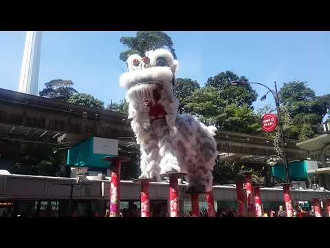 2019 CNY High pole Lion Dance performance by Kun Seng Keng @ Concorde Hotel KL 麻坡关圣宫龙狮团高桩舞狮表演