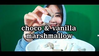 korean한국어asmr/초코&바닐라 마시멜로 이팅사운드/choco marshmallow eating sounds/whispering/binaural