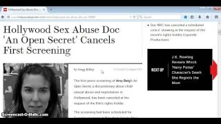 "ANOTHER MOVIE YOU CANT SEE: HOLLYWOOD SEX ABUSE DOC ""AN OPEN SECRET"""