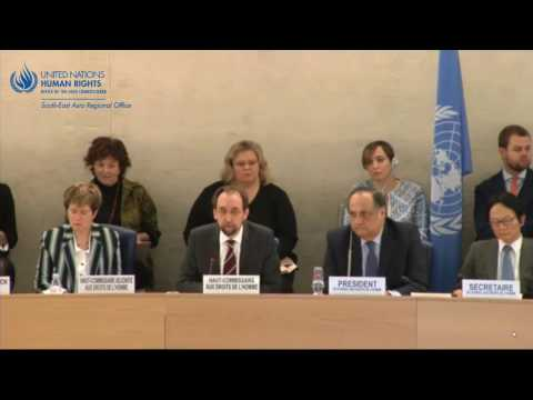 UN High Commissioner for Human Rights reports to the Human Rights Council on Myanmar