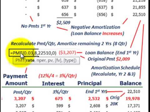Notes Payable (Negative Amortization Of A Loan Issued As A Note