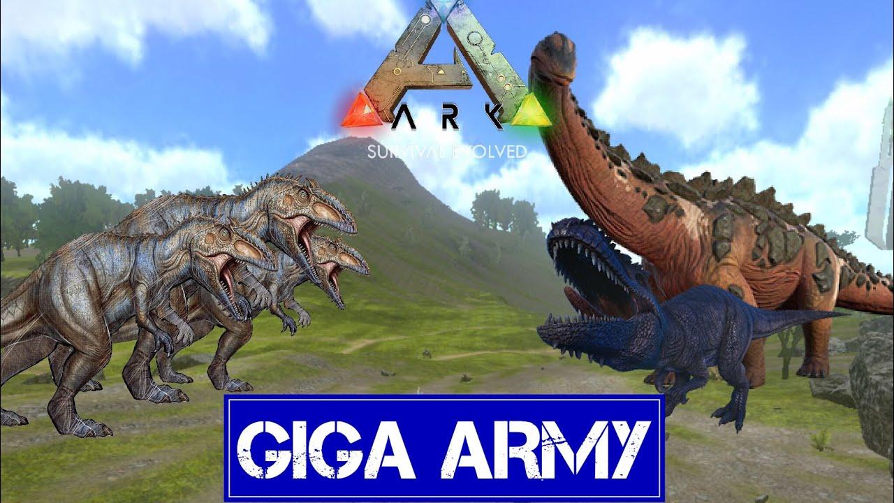 GIGA ARMY VS WILD GIGA AND TITAN | Ark Survival Evolved Mobile