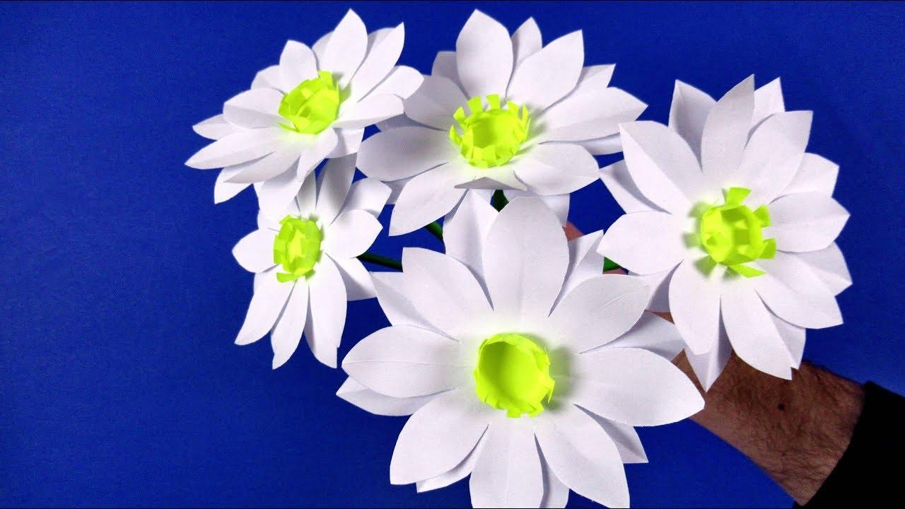 Как сделать цветы ромашки из бумаги. Цветы из бумаги ...