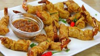 Firecracker Shrimp Wontons Recipe.