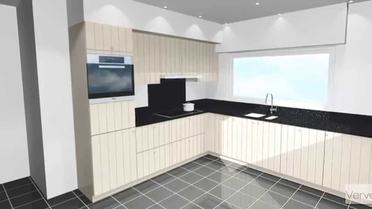 Keuken model breda standaard fronten gegroefd in structuurlak composiet werkblad youtube - Keuken model amenagee ...