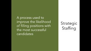 A four-minute overview of the elements strategic staffing process, including example investment to create related tools.