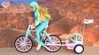 Barbie & Kelly Bike Tailer - Rapunzel Barbie Houses Morning Rumah Barbie Pagi Reboque de bicicleta