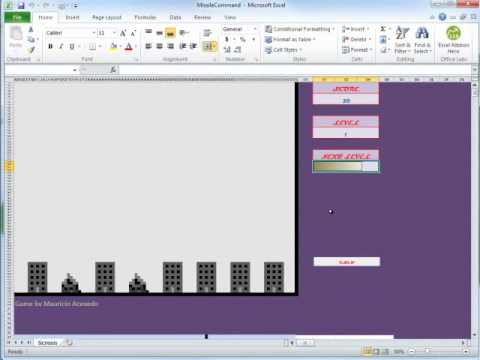 How It's Made: Missile Command, Excel 2010 game