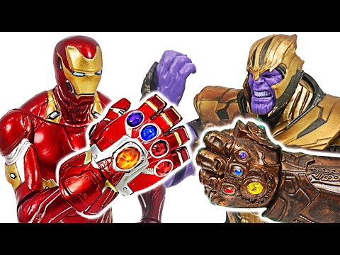 Iron Man Nano Gauntlets VS Thanos Infinity Gauntlets!   DuDuPopTOY