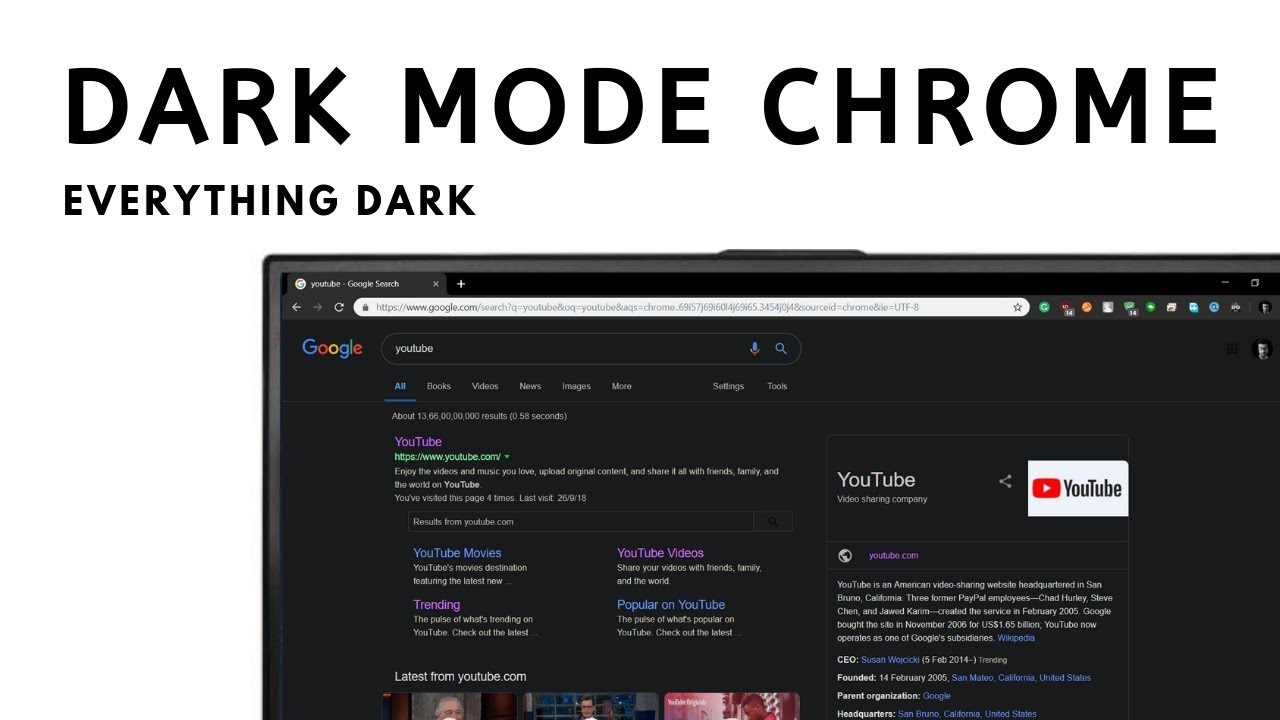 how to dark mode youtube browser