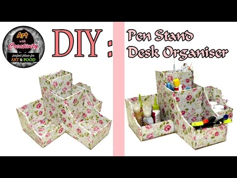 DIY : How to make Pen Stand / Desk organiser | Card Board | Art with Creativity 117