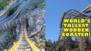 World's TALLEST Wooden Roller Coaster! Wildfire Multi-Angle 4K POV! Kolmarden Zoo Sweden