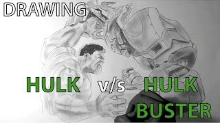 HULK VS HULK BUSTER - Speed Drawing/Sketching - time lapse (AVENGERS 2: age of ultron)