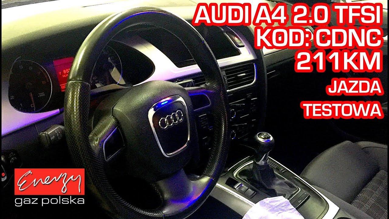 Jazda testowa próbna test Audi A4 z 2.0 TFSI 2010r w Energy Gaz Polska na gaz BRC SDI