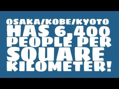 What is the land area of Osaka/Kobe/Kyoto?