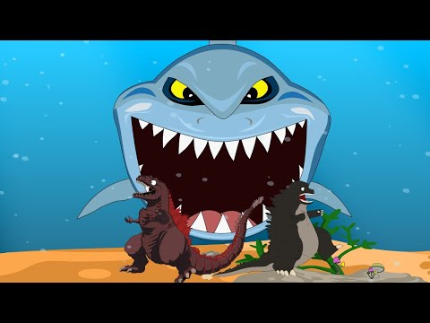 Godzilla Vs Shin Godzilla, Dinosaur: Shark Attack | Godzilla Movie Cartoon [HD]