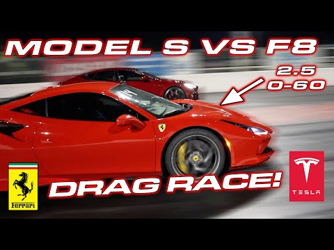 2.31 to 60 MPH ENOUGH? * Ferrari F8 Tributo vs Tesla Model S Performance Drag Race