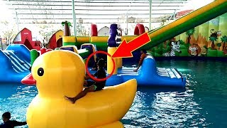Giant Duck WaterSlide Toys For Kids Videos | Play In WaterSlide WaterPark Gofun