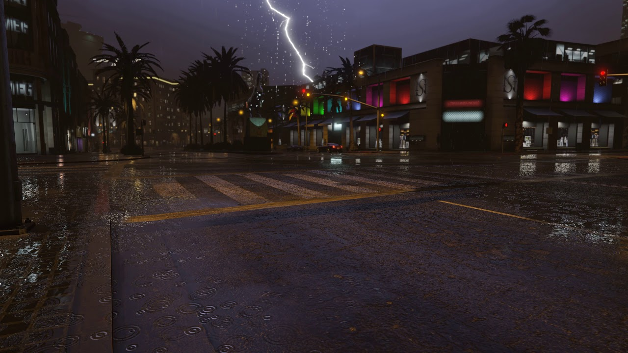 Gta  Thunderstorm In The City Live Wallpaper K Uhd Gta V