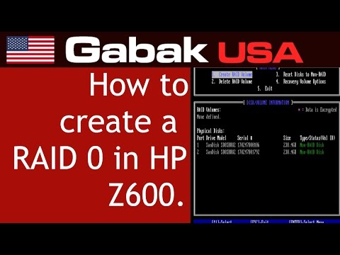 how to create a RAID 0 in HP Z600 workstation