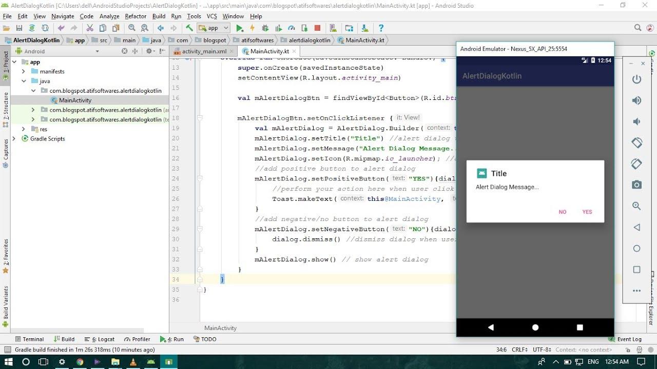 Alert Dialog Kotlin Android Studio Tutorial Youtube